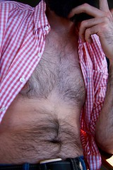 Time to go cool off the pool! (Vaughanoblapski!) Tags: andries chest hair shirt hand fingers bellybutton belt