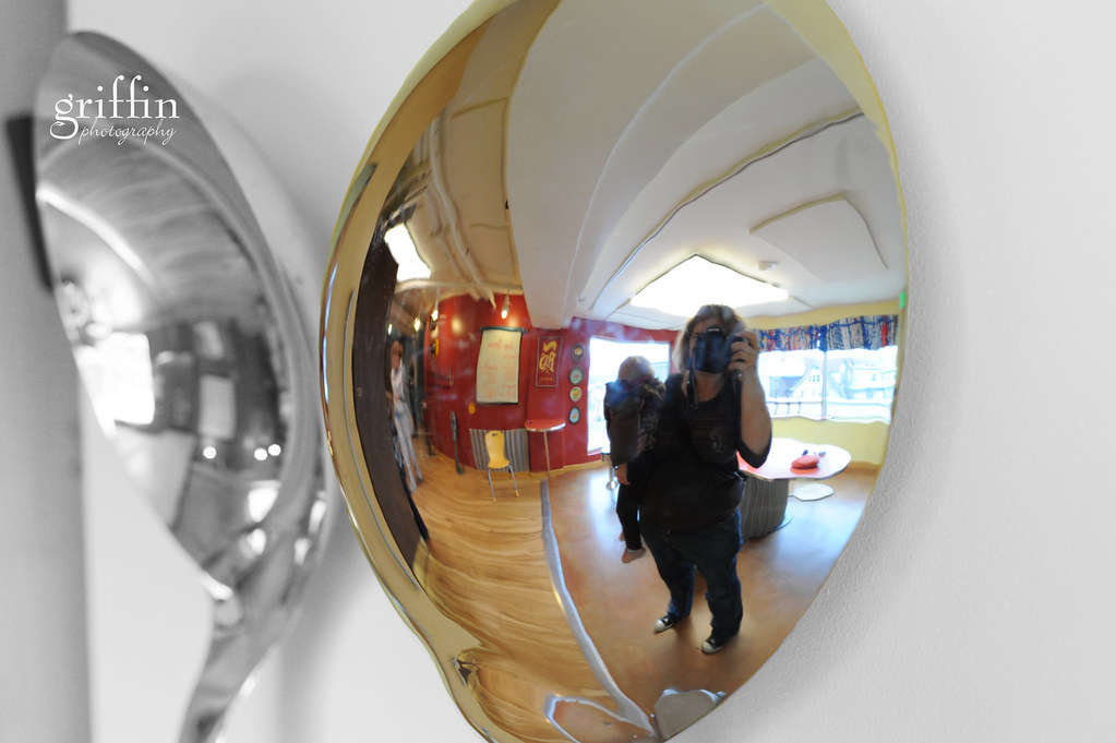 Reflected selfportrait in a giant spoon at the Madison Children's Museum, Wisconsin.