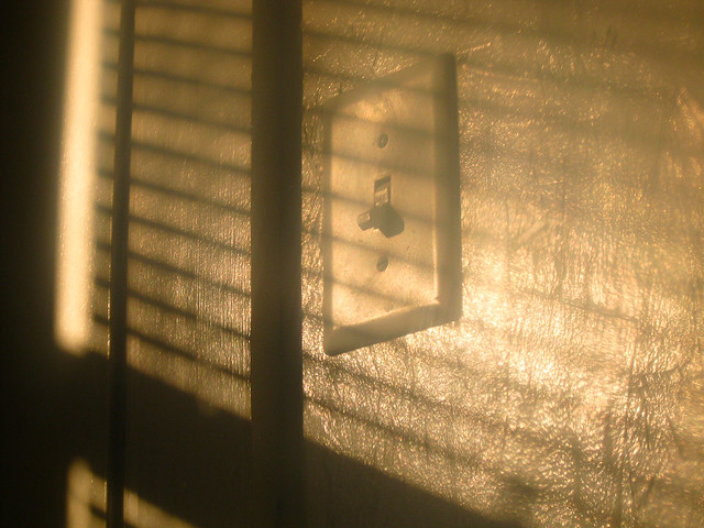 light switch with shadow cast by venetian blinds