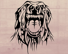 IRA (Black Crown . tribal) Tags: dog white black art design tribal cao cachorro tatoo ira ilustration