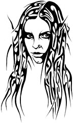 NOITE (Black Crown . tribal) Tags: white black art face design cheek tribal tatoo ilustration