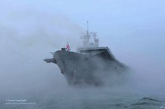 HMS Ark Royal Emerges from the Mist to Dock in Portsmouth for the Final Time (Defence Images) Tags: uk mist misty fog ship military foggy free hampshire equipment portsmouth british aircraftcarrier arkroyal defense carrier defence cvs royalnavy hmsarkroyal decommissioning surfaceship invincibleclass finaltime