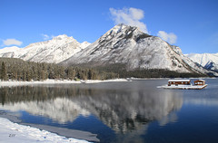 Mount Astley Reflected in Lake Minnewanka (zeesstof) Tags: park trees winter lake snow canada mountains reflections alberta banff conifers banffnationalpark lakeminnewanka boathouses picturepostcard canoneos7d canon18135is zeesstof reflectedmountains mountastley