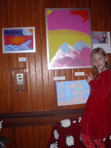Elizabeth with her paintings at Women of Westport in the Depot Theatre, Westport, NY