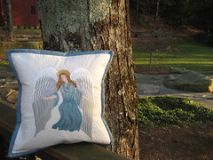 Pillow in the Afternoon Sun (Gayle Brindley) Tags: motion angel linen embroidery free pillow pebble quilting