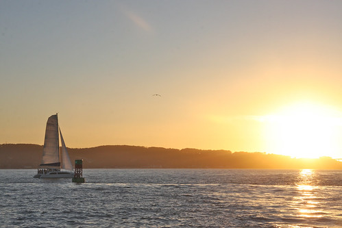 Sailboat, Buoy, Sunset, San Francisco Bay