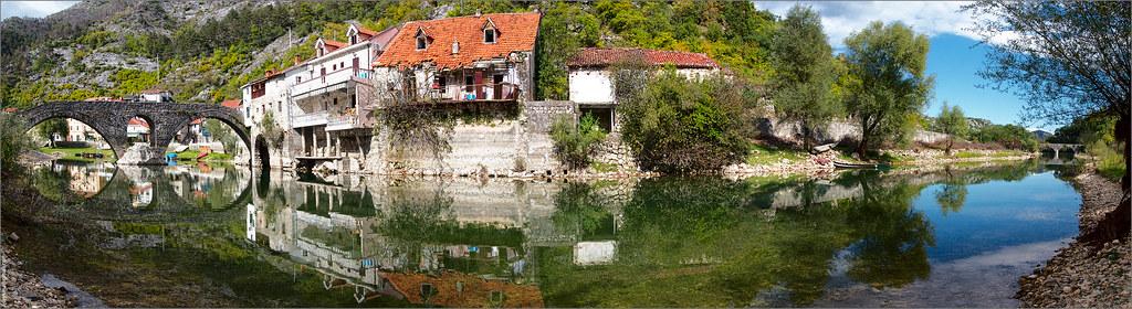 Panorama of Rijeka Crnojevica town in montenegro