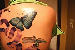 154/365... Big Blue (EyeSeeTheWorld) Tags: portrait woman selfportrait me girl tattoo lady ink self butterfly bug insect back purple critter ribbon
