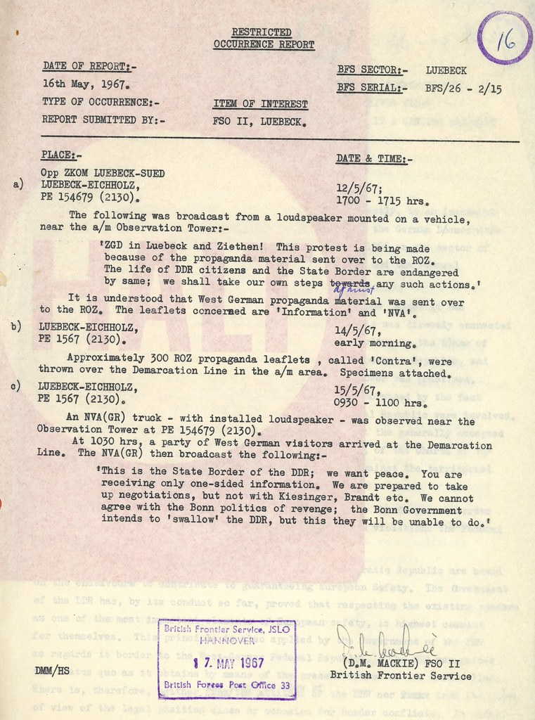 Restricted Occurence Report, 16th May 1967.
