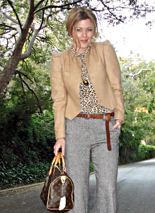 browns and grays+leopard print+camel jacket+sharp