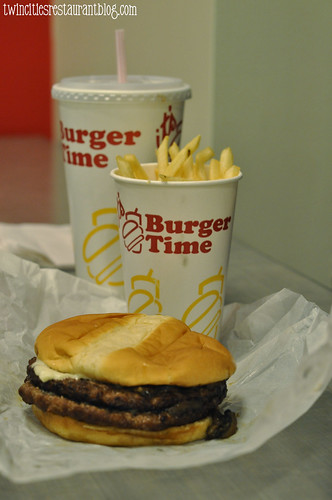 Mushroom and Swiss Burger with Fries at Burger Time ~ White Bear Lake, MN