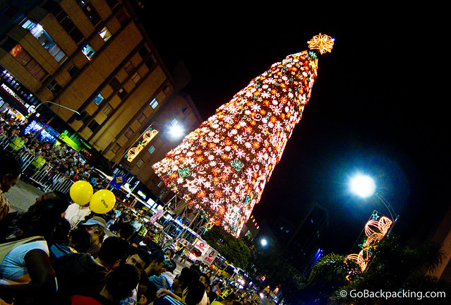 Big Christmas tree in downtown Medellin.