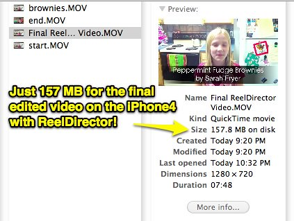 Final Video with ReelDirector: 157 MB