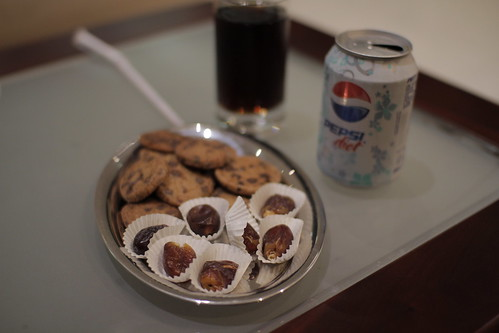 cookies and dates served in the lounge