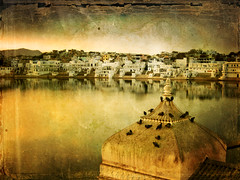 India . Rajasthan . the Holy Hindu lake of Pushkar (Nick Kenrick .) Tags: travel urban india lake water photoshop vintage landscape religious asia princess antique prayer religion pray atmosphere tourist romance holly holy kings zen ganesh indie reflect