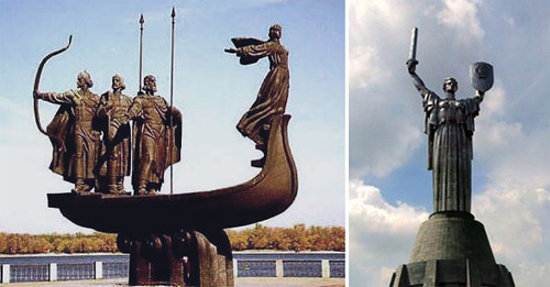 Sculpture of The founders of Kiev, and sculpture of MotherLand. UKRAINE
