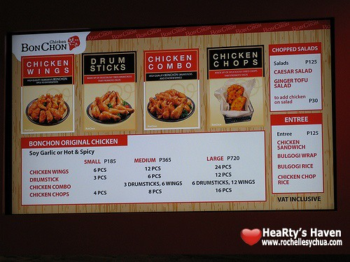 bon chon chicken menu