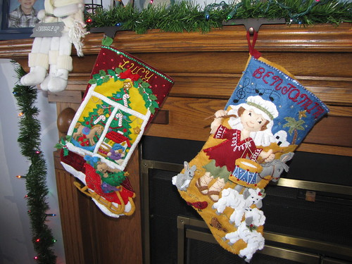 Benjamin and Lucy's homemade stockings