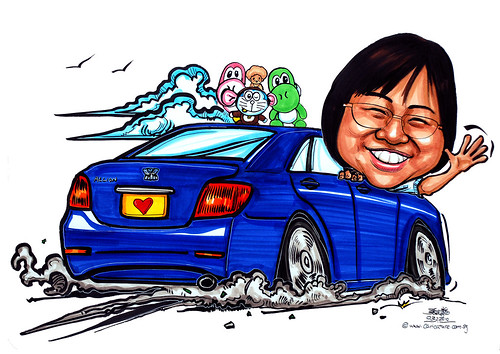 lady caricature in Toyota Allion