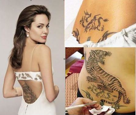 angelina jolie tattoos on back. angelina jolie tiger tattoo