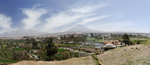 Panorama including Misti, Picchu Picchu and Chachani
