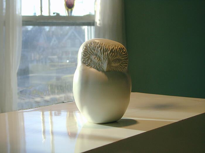 The Ceramic Sleepy Owl is a simple organic sculptural bird form