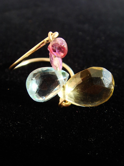 anillo cuarzo limón y topacio gemmasu