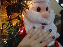 Papai Noel (amandacsb1) Tags: azul natal glitter hits 370 arvore unhas forte esmalte