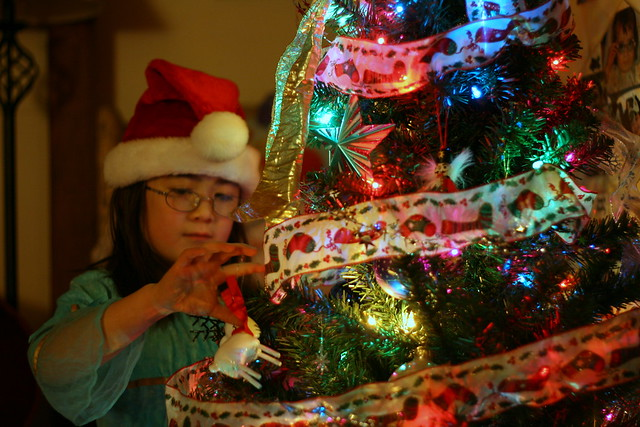 Putting ornaments on her tree