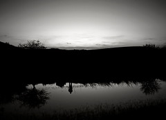 untitled (reflections) (ssj_george) Tags: trees sunset sky blackandwhite bw plants white man reflection water silhouette reflections lens four lumix person pond hill cyprus panasonic reflected saltlake balck micro pancake 20mm dmc thirds larnaca f17 m43 gf1  georgestavrinos   m43rds ssjgeorge