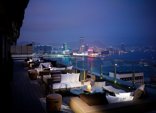 Hong Kong's sun set viewed at SEVVA's Terrace_mid