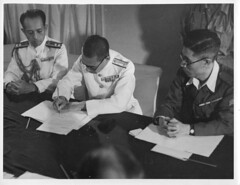 Signing the Surrender at Penang (Chris Turner Photography) Tags: world new party india white black history public monochrome japanese war ship burma military delhi nelson historic east papers malaysia ww2 second soldiers penang press 1945 campaign far signing troops services surrender inter internal hms relations malaya aboard ghq delegates directorate