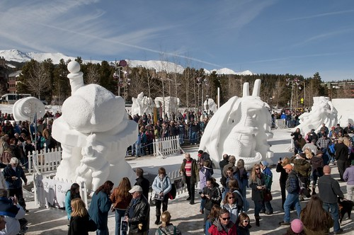 Crowds walk through snow sculptures in the town of Breckenridge, Colorado. breckenridge event