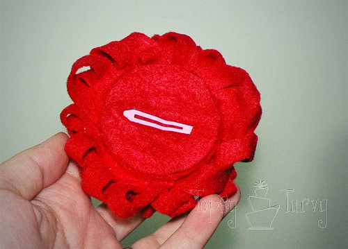 felt ribbon pom pom flower medium hair clip back