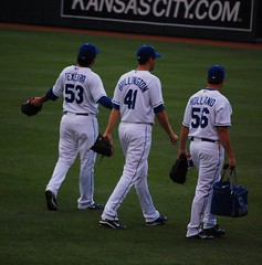 Tex, Bullington and shiny new rookie Holland (Minda Haas) Tags: baseball mlb kansascityroyals kauffmanstadium gregholland bryanbullington kanekoatexiera