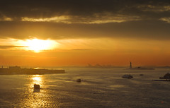 Bridge With A View (bijoyKetan) Tags: travel sunset sky newyork colors dusk brooklynbridge statueofliberty tamron1750mm