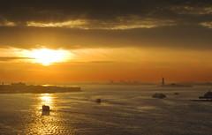 Bridge With A View (bijoyKetan) Tags: travel sunset sky newyork colors dusk brooklynbridge statueofliberty tamron1750mm