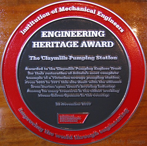 Claymills Pumping Station Heritage Award Plaque