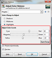 Color Balance dialog box in GIMP