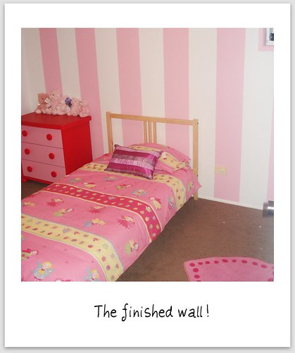 Pink and White Striped Wall