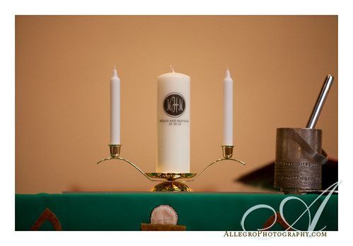 crane-estate-castle-hill-wedding-inspiration-mm- unity candle at church wedding with monogram