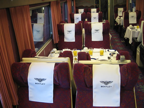 Embroidered headrest covers on charter train