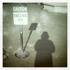 Falling ice and falling shadows