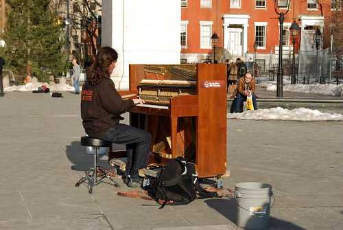 My son, the street musician