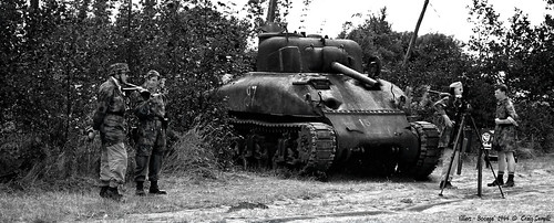 A Sherman, knocked out in Normandy