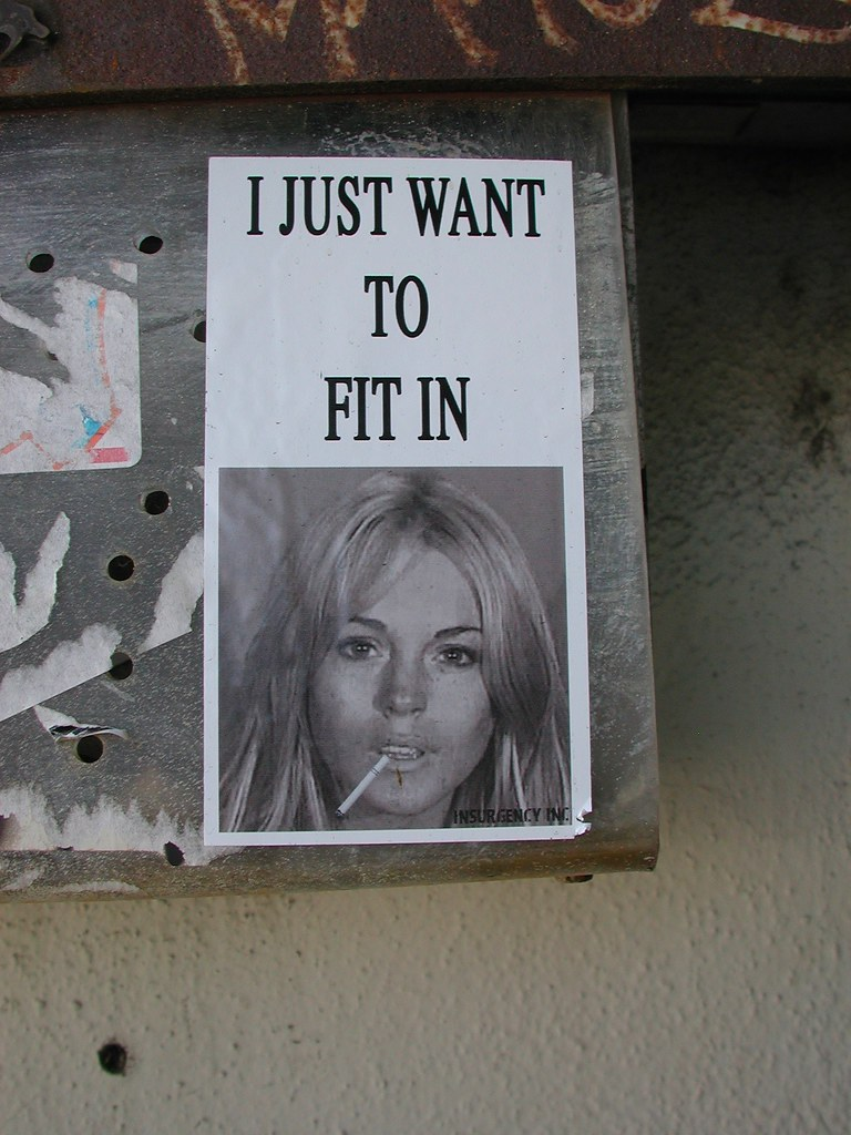 I Just to Fit in, Street Art, Graffiti, sticker, LA, Los Angeles