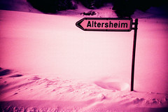 Altersheim (Markus Moning) Tags: old schnee winter people snow film home sign analog 35mm for schweiz switzerland lomo lca xpro lomography fuji cross ar professional peoples direction schild fujifilm rest aged process lc alter processed oldage heim moning wegweiser reute altersheim t64 markusmoning