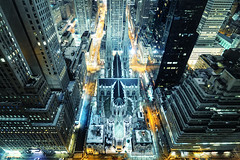 St. Patrick's Cathedral from Above at Night, New York City (andrew c mace) Tags: above nyc newyorkcity longexposure roof newyork rooftop night cityscape cathedral manhattan stpatrickscathedral rockefellercenter wideangle tokina1224 aerial midtown stpatricks palacehotel madisonavenue photomatix newyorkpalace colorefex nikoncapturenx 48thfloor nikond90