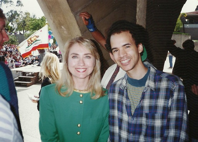 me and hillary clinton at ucsb storke plaza
