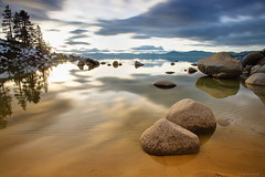 Sand Harbor (Jay Tankersley Photography) Tags: california sunset lake snow mountains water harbor sand rocks nevada tahoe calm
